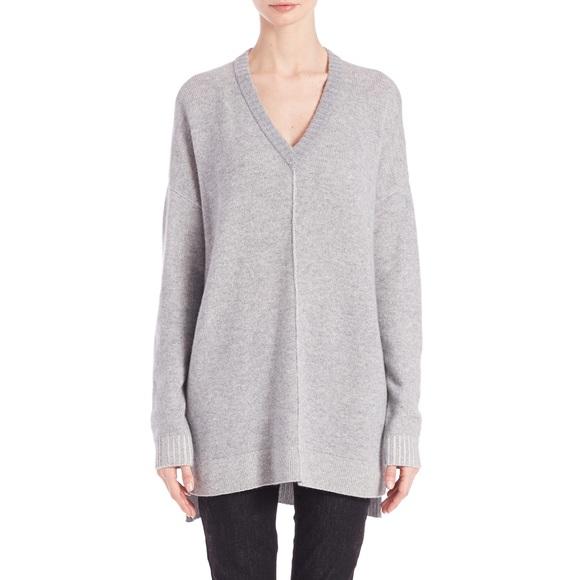 40362ce24e8 Eileen Fisher Sweaters | Gray Plaited Cashmere V Neck Tunic | Poshmark